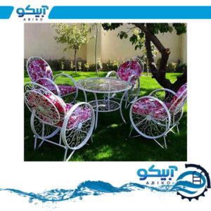 میز و صندلی ویلایی – مدل کالسکه(فرفورژه)- ست 6 نفره به همراه میز وسط