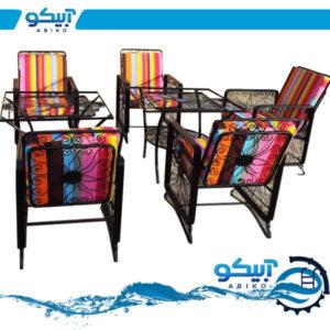 میز و صندلی فلزی ویلایی، مدل مربع