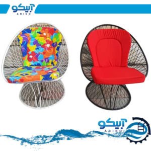 میز و صندلی فلزی ویلایی، طرح بامبو