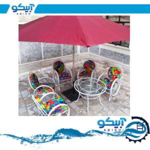 چتر ویلایی – چتر باغی پایه وسط چوبی، رنگی، قطر 3*3 متر