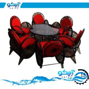 میز و صندلی فلزی ویلایی، طرح گلبرگ